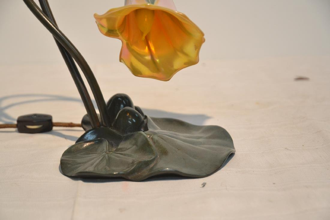 BRONZE LILY PAD DESK LAMP WITH (Pr) PULLED FEATHER - 3