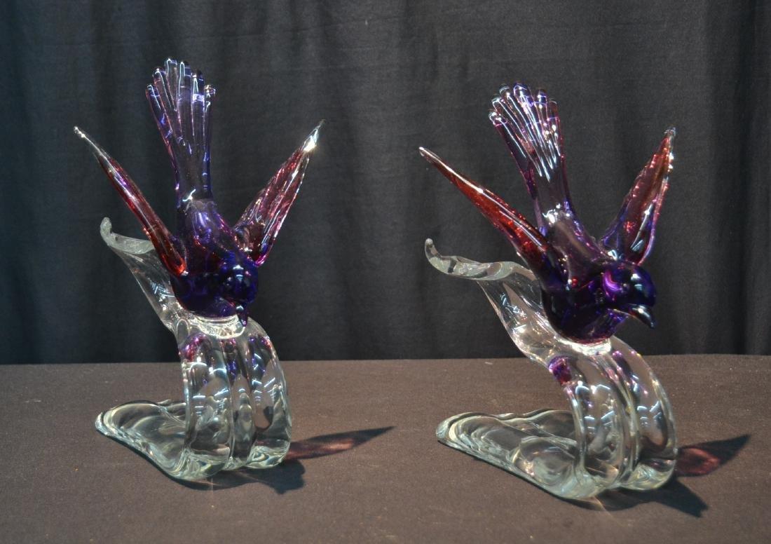 """(Pr) MURANO GLASS BIRDS - 6"""" x 7 1/2"""" x 10 1/2"""""""