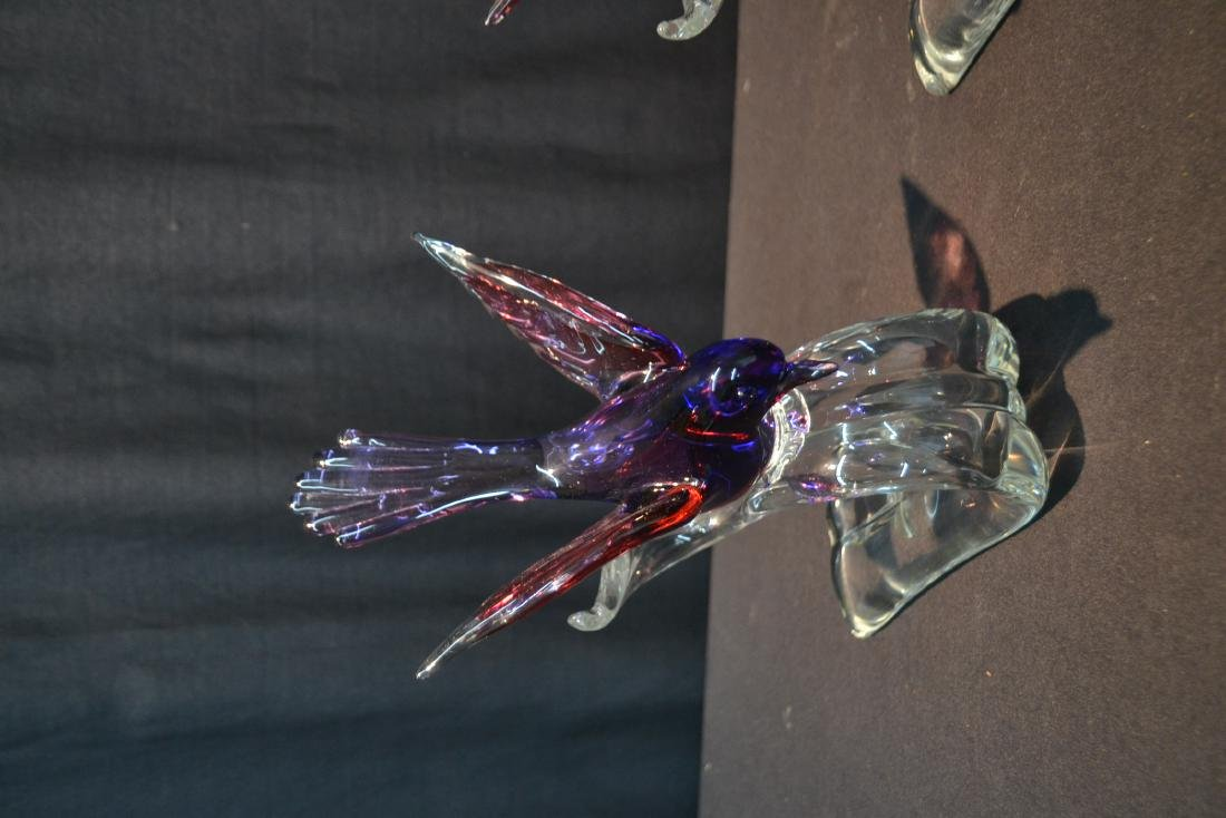 """(Pr) MURANO GLASS BIRDS - 6"""" x 7 1/2"""" x 10 1/2"""" - 3"""