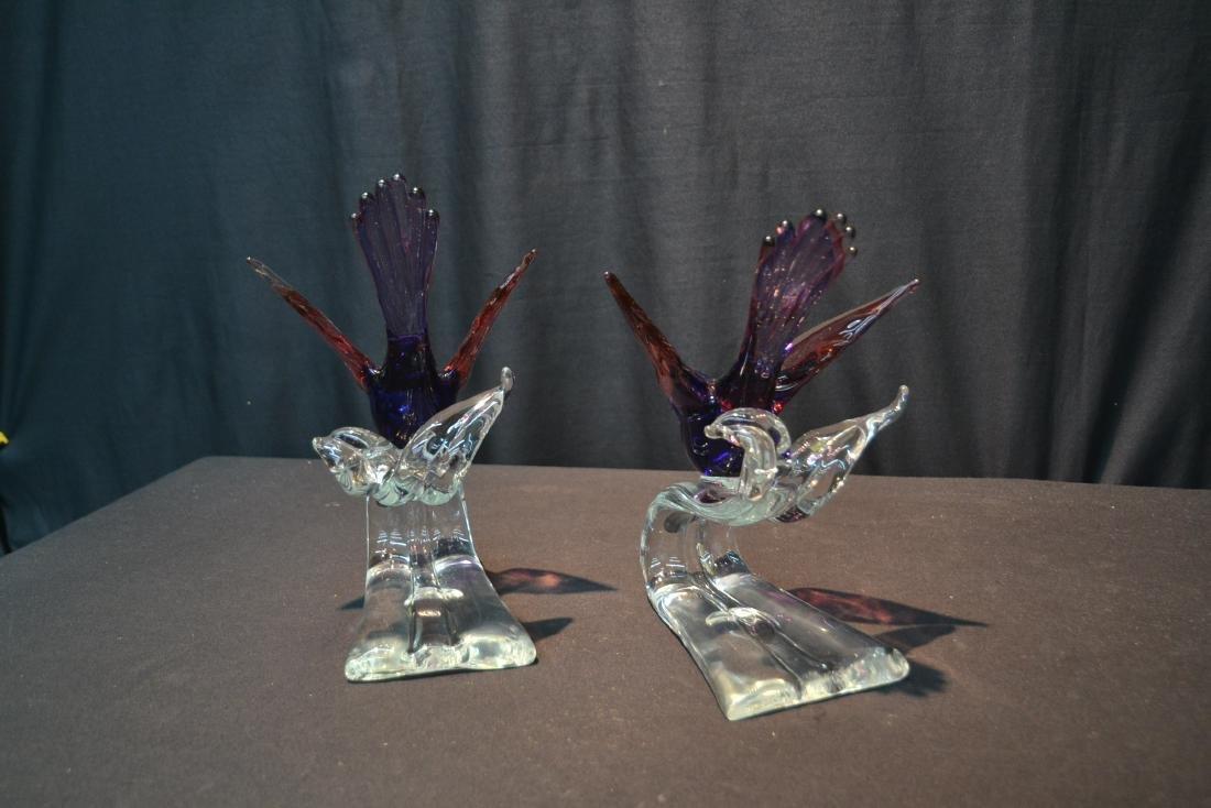 """(Pr) MURANO GLASS BIRDS - 6"""" x 7 1/2"""" x 10 1/2"""" - 5"""