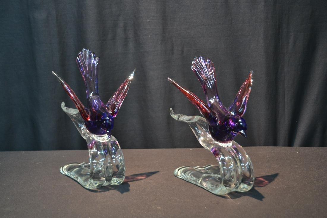 """(Pr) MURANO GLASS BIRDS - 6"""" x 7 1/2"""" x 10 1/2"""" - 7"""