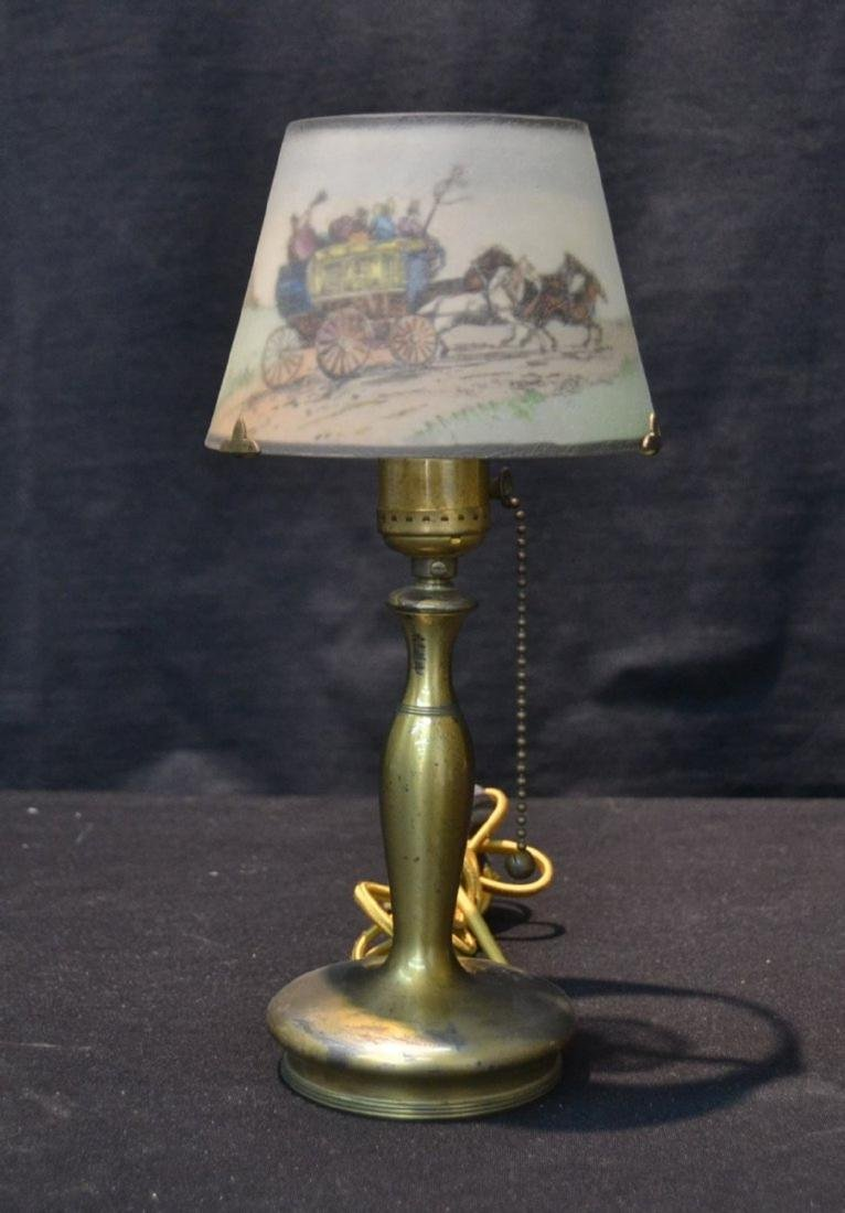 SIGNED PAIRPOINT BOUDOIR LAMP WITH COACHING SCENE