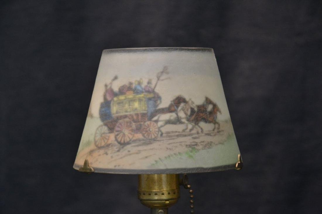 SIGNED PAIRPOINT BOUDOIR LAMP WITH COACHING SCENE - 2
