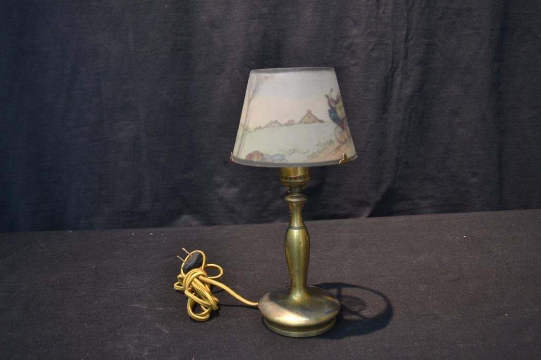 SIGNED PAIRPOINT BOUDOIR LAMP WITH COACHING SCENE - 3