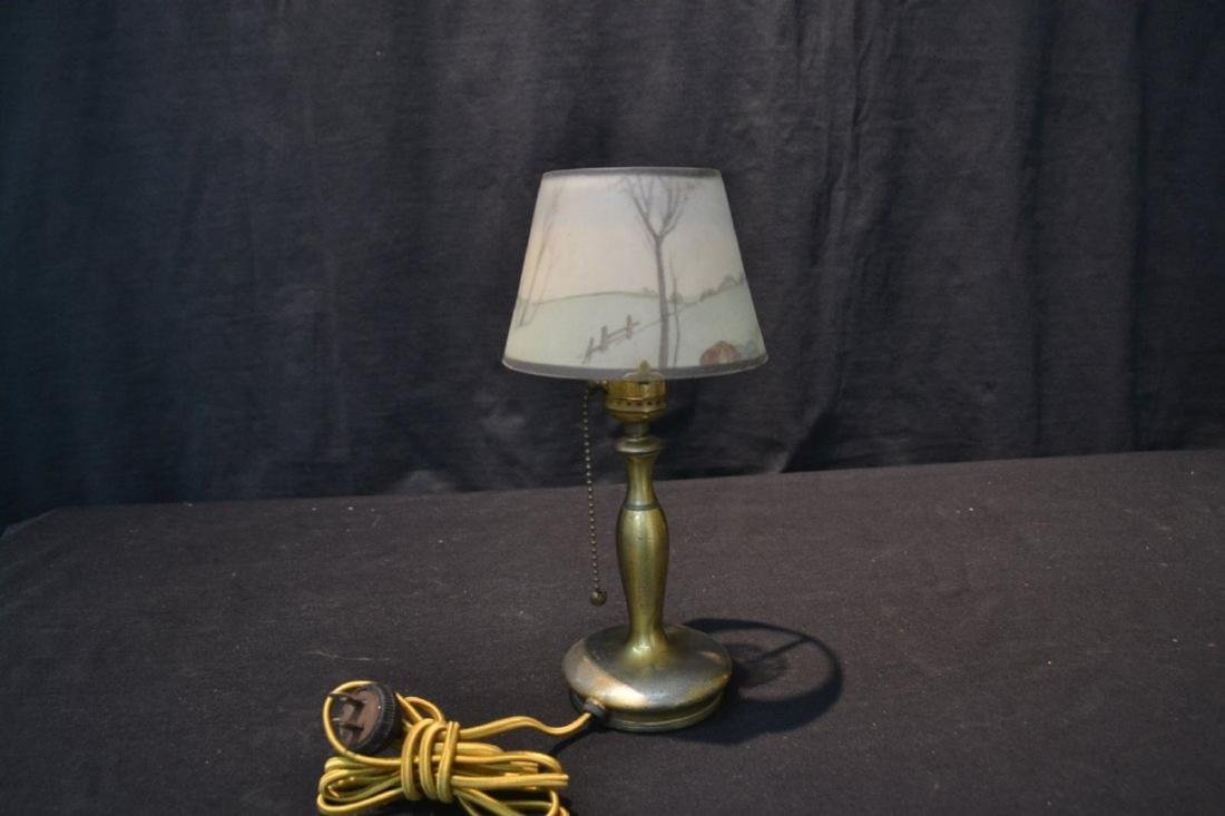 SIGNED PAIRPOINT BOUDOIR LAMP WITH COACHING SCENE - 4