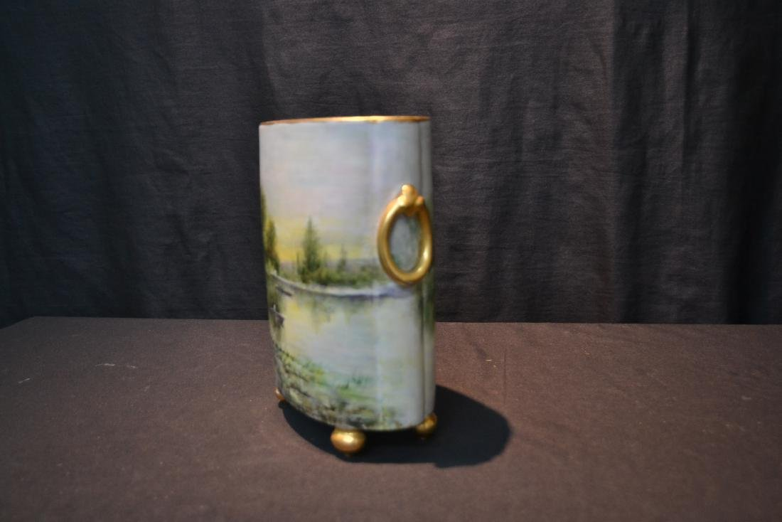 HAND PAINTED WILLIAM GEURIN & Co. LIMOGES VASE - 2