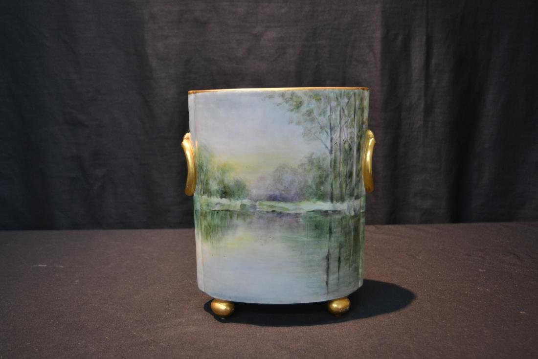 HAND PAINTED WILLIAM GEURIN & Co. LIMOGES VASE - 3