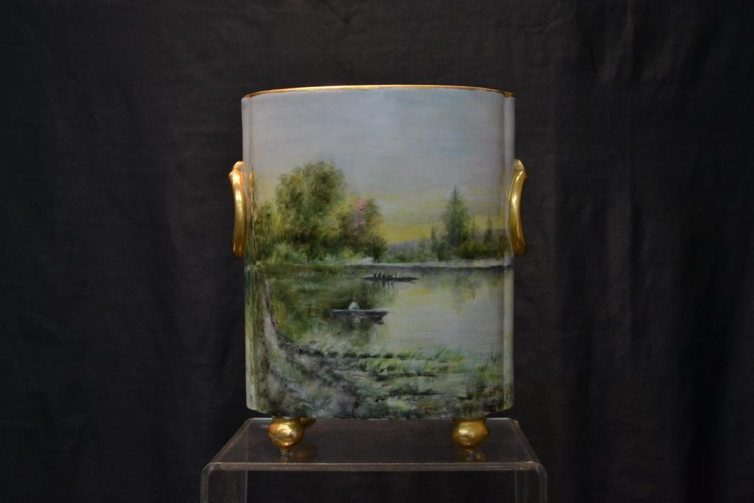 HAND PAINTED WILLIAM GEURIN & Co. LIMOGES VASE - 7