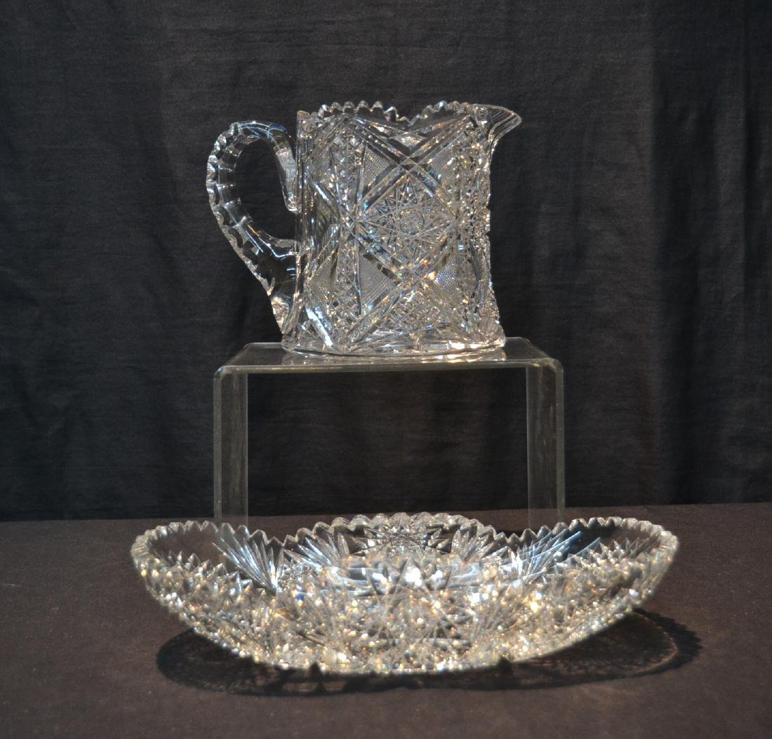 AMERICAN BRILLIANT CUT GLASS BASKET & PITCHER