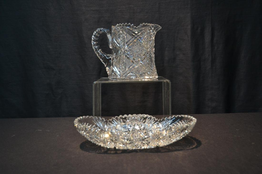 AMERICAN BRILLIANT CUT GLASS BASKET & PITCHER - 2