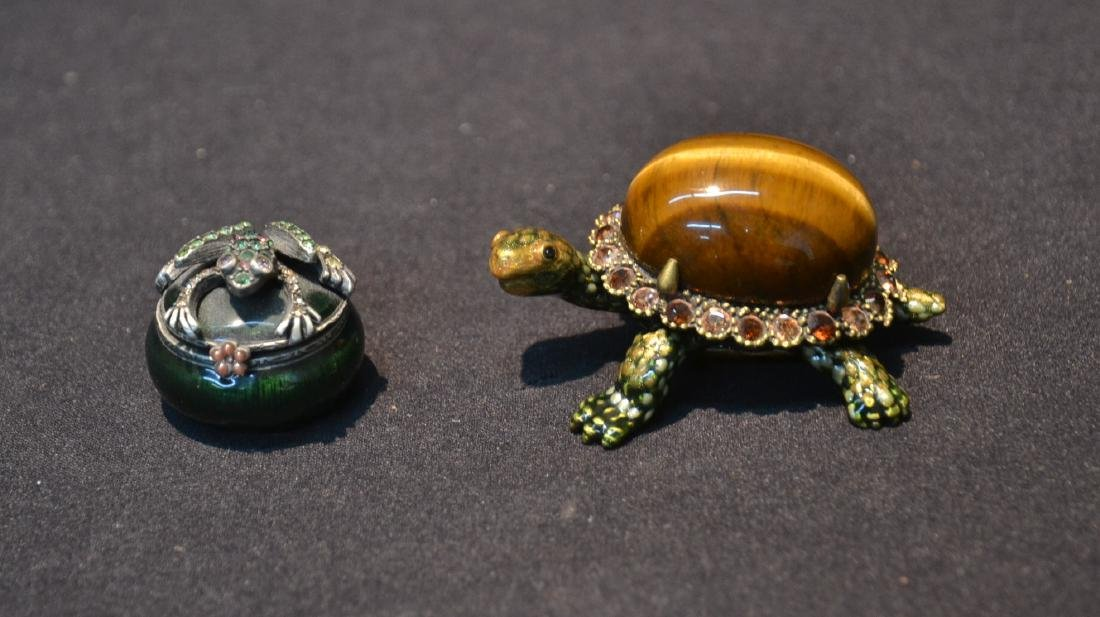 JAY STRONGWATER ENAMELED TURTLE & FROG BOXES