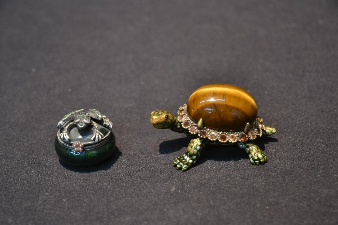 JAY STRONGWATER ENAMELED TURTLE & FROG BOXES - 2