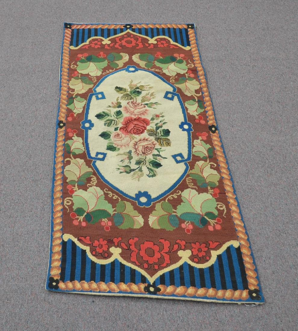 """FLORAL NEEDLEPOINT RUG - 2' 5"""" x 5' (OFF CENTER)"""