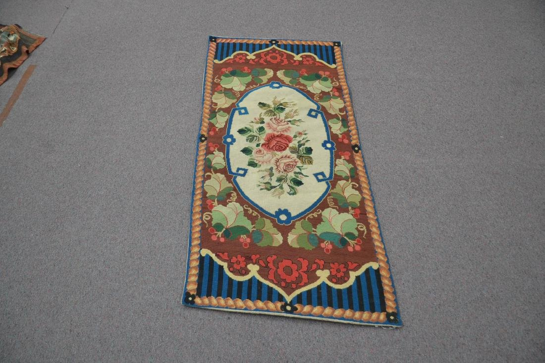 """FLORAL NEEDLEPOINT RUG - 2' 5"""" x 5' (OFF CENTER) - 2"""