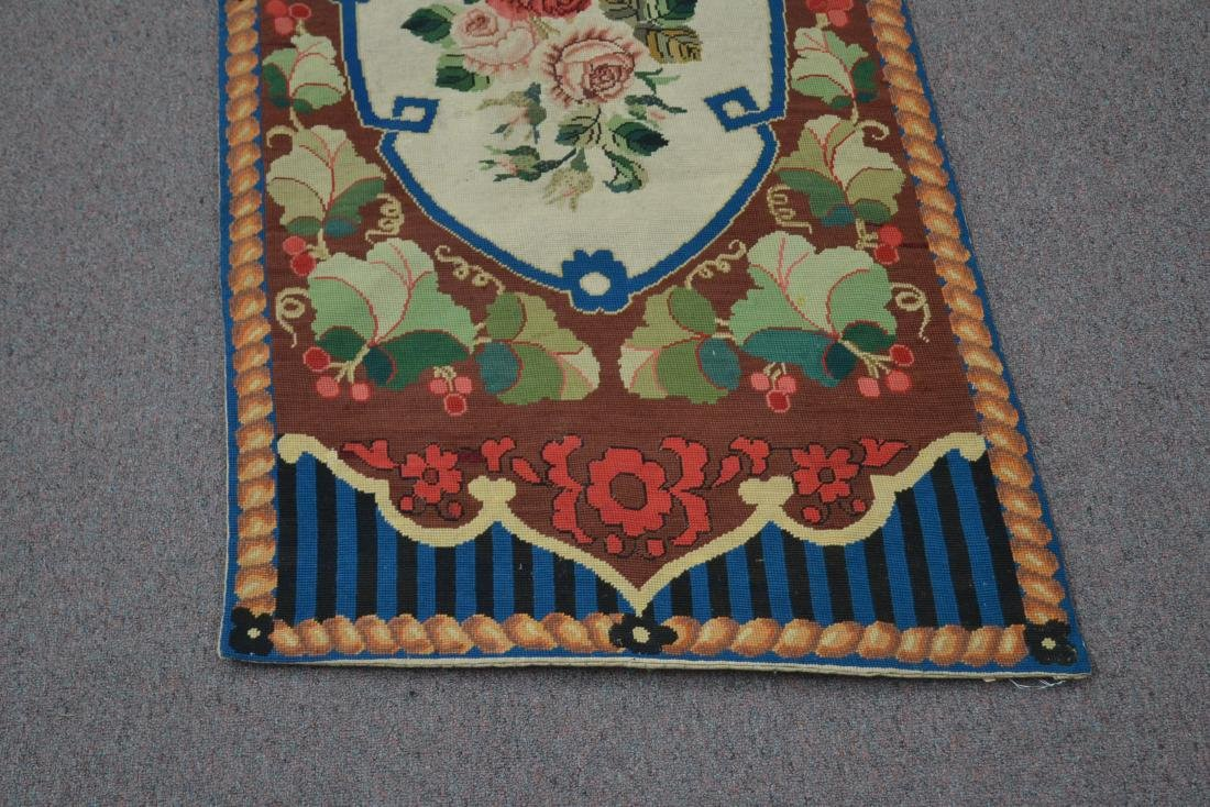 """FLORAL NEEDLEPOINT RUG - 2' 5"""" x 5' (OFF CENTER) - 3"""