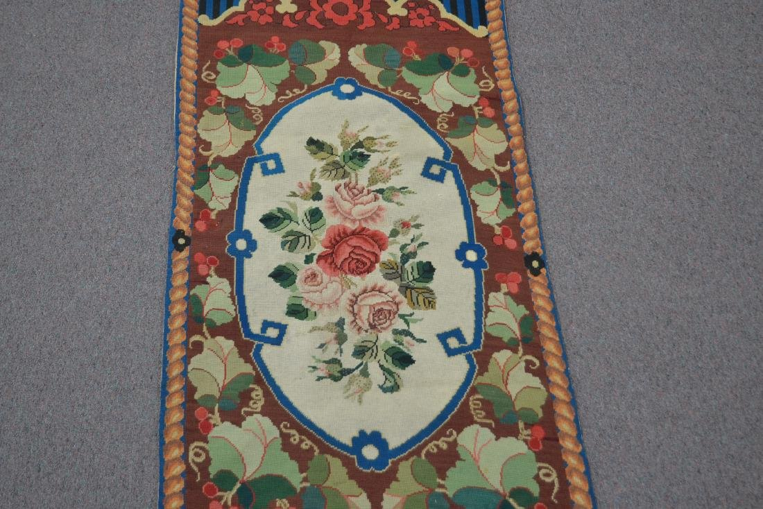 """FLORAL NEEDLEPOINT RUG - 2' 5"""" x 5' (OFF CENTER) - 4"""