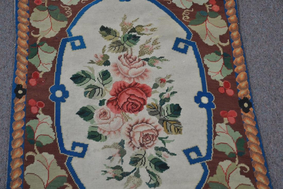 """FLORAL NEEDLEPOINT RUG - 2' 5"""" x 5' (OFF CENTER) - 5"""