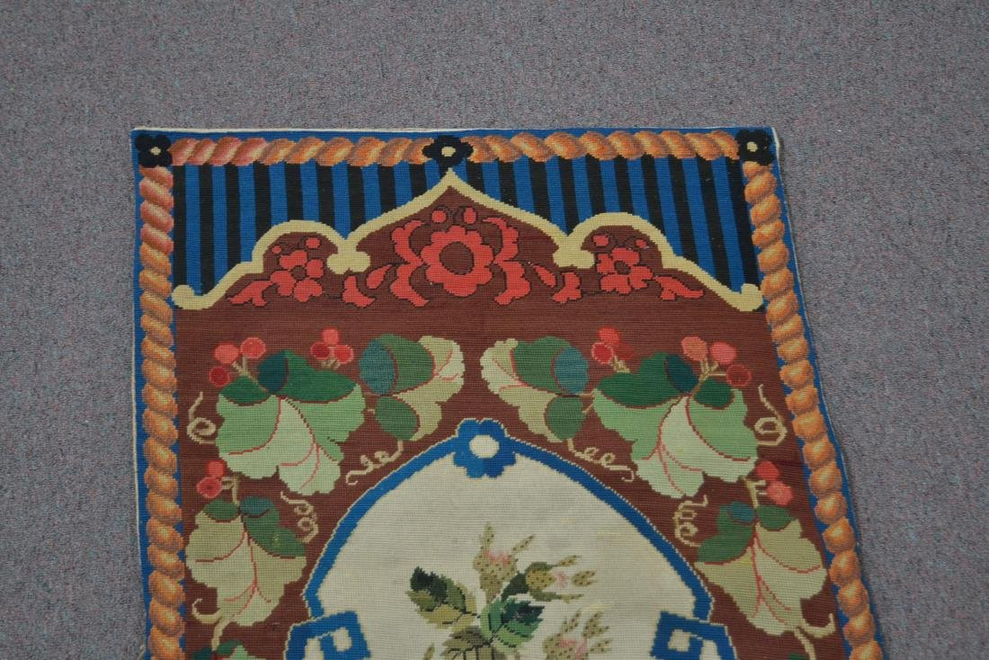 """FLORAL NEEDLEPOINT RUG - 2' 5"""" x 5' (OFF CENTER) - 6"""