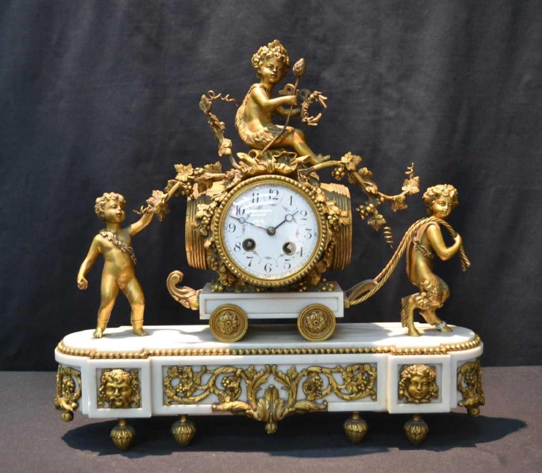 19thC FRENCH BRONZE & MARBLE MANTLE CLOCK