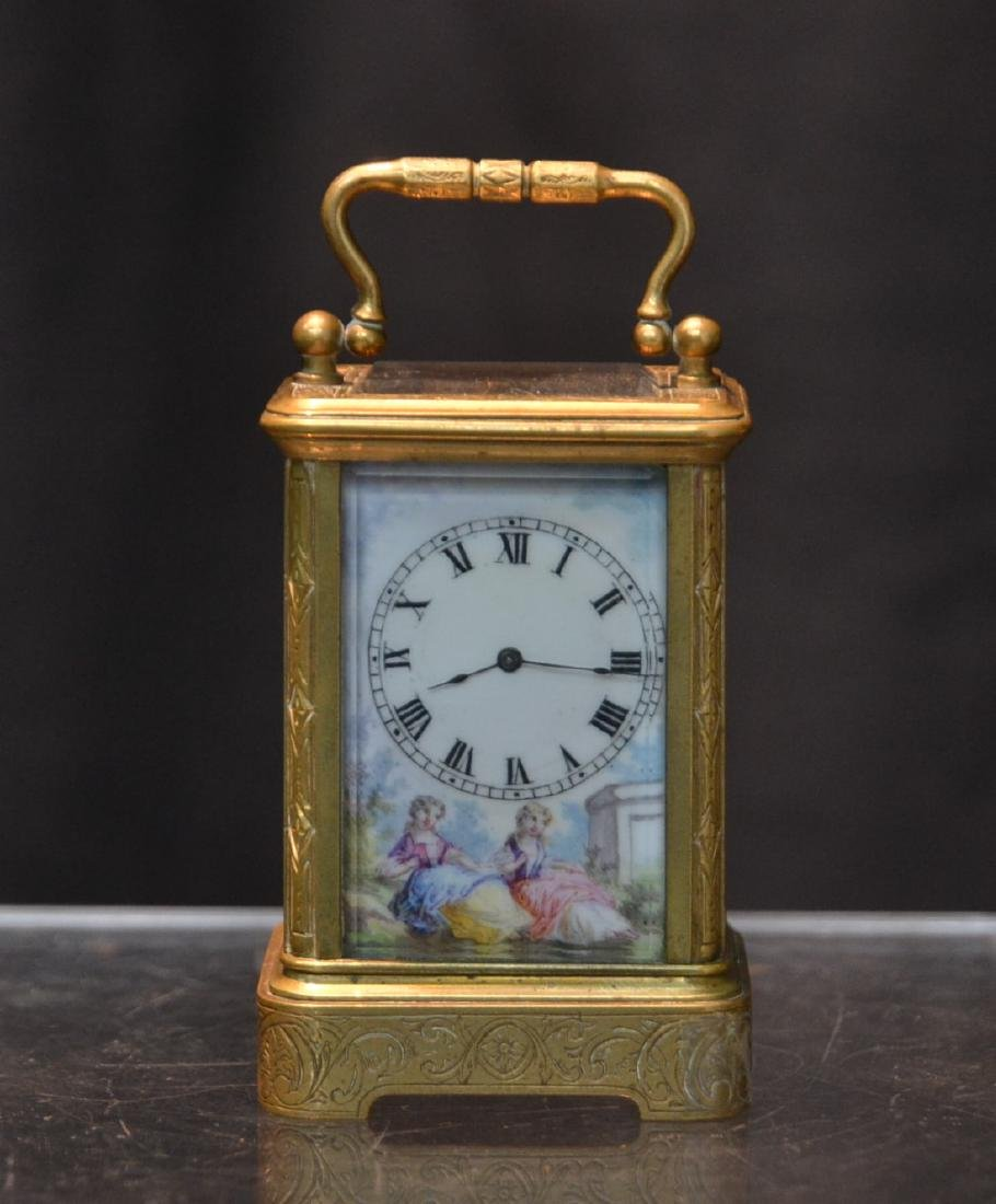 MINIATURE BRONZE & VIENNESE ENAMEL CARRIAGE CLOCK
