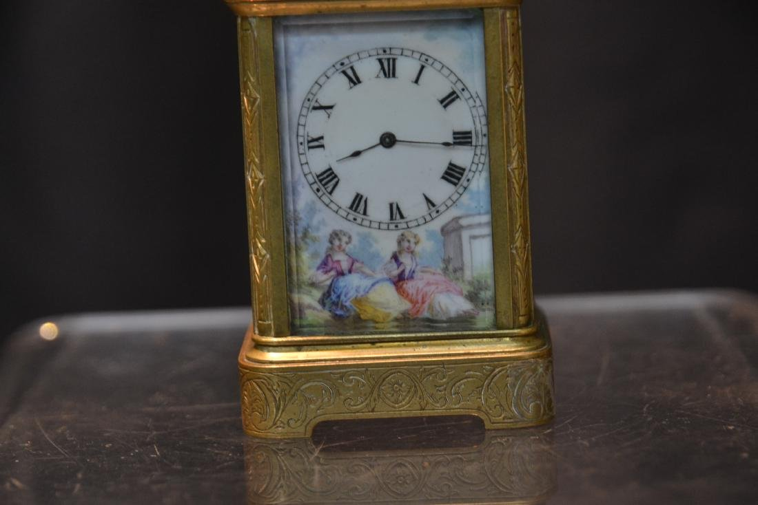 MINIATURE BRONZE & VIENNESE ENAMEL CARRIAGE CLOCK - 2