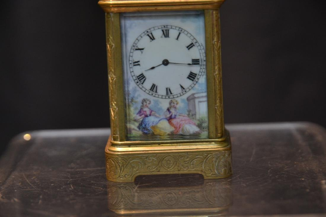 MINIATURE BRONZE & VIENNESE ENAMEL CARRIAGE CLOCK - 3