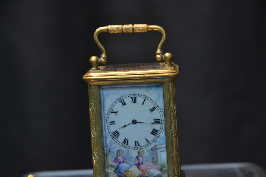 MINIATURE BRONZE & VIENNESE ENAMEL CARRIAGE CLOCK - 4