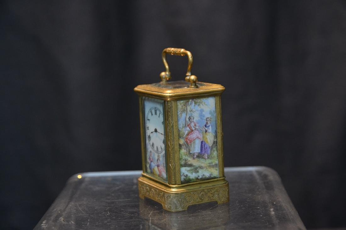 MINIATURE BRONZE & VIENNESE ENAMEL CARRIAGE CLOCK - 5