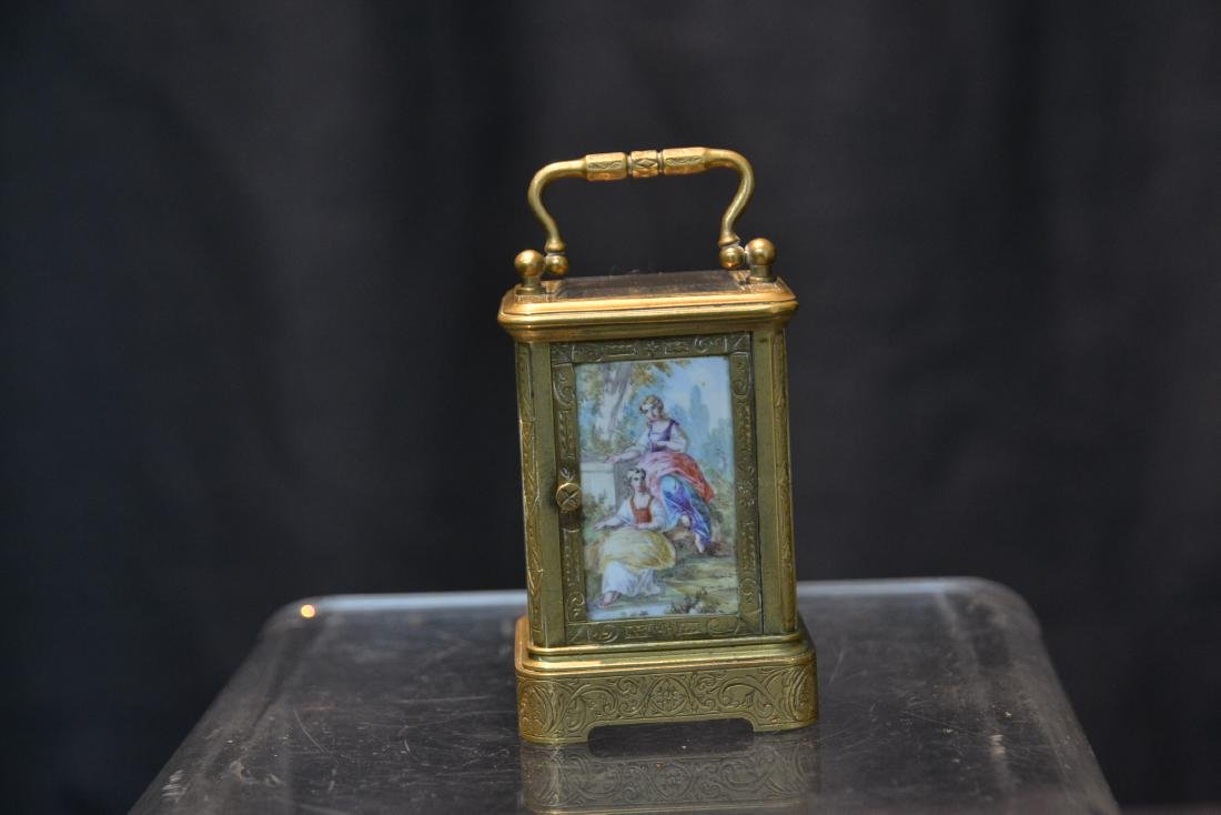 MINIATURE BRONZE & VIENNESE ENAMEL CARRIAGE CLOCK - 6