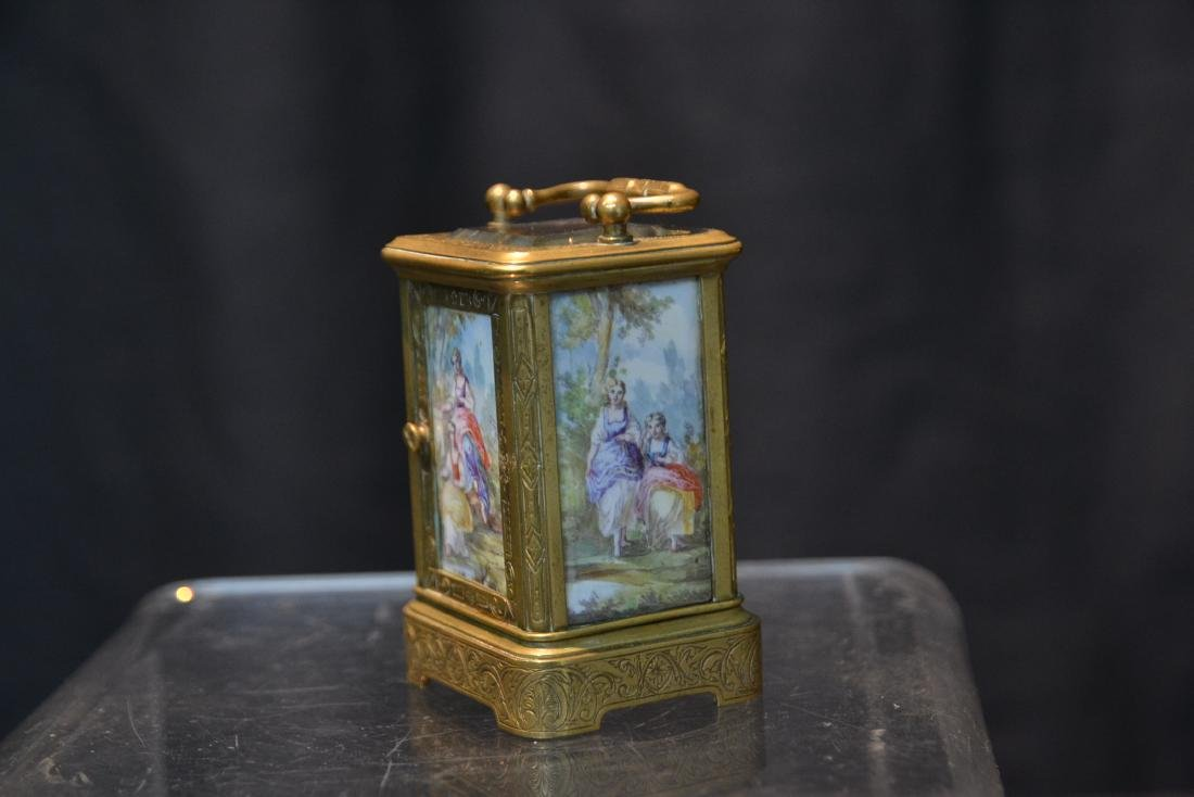 MINIATURE BRONZE & VIENNESE ENAMEL CARRIAGE CLOCK - 7