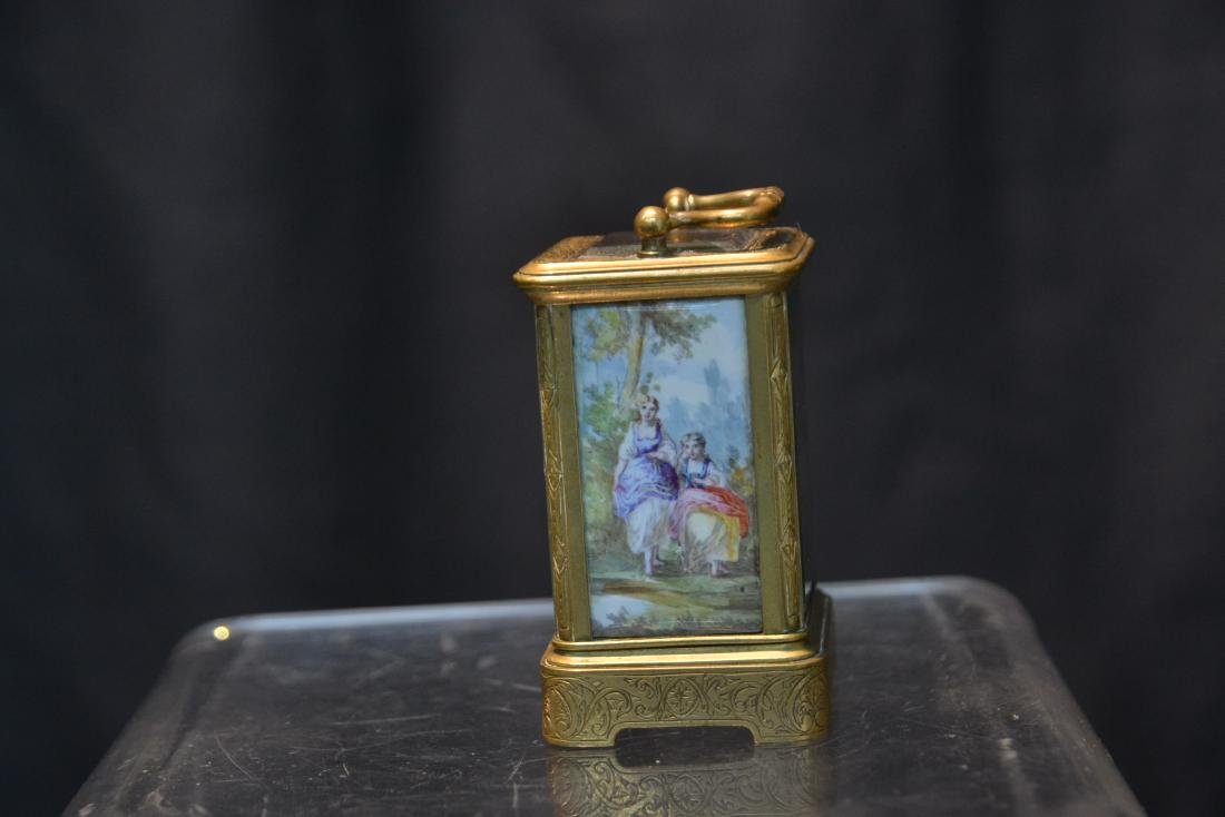 MINIATURE BRONZE & VIENNESE ENAMEL CARRIAGE CLOCK - 8
