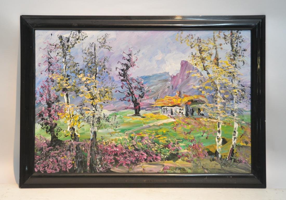 MORRIS KATZ , OIL ON BOARD CABIN & TREES IN