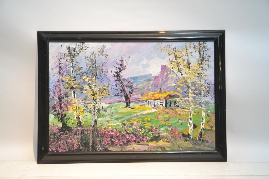 MORRIS KATZ , OIL ON BOARD CABIN & TREES IN - 2