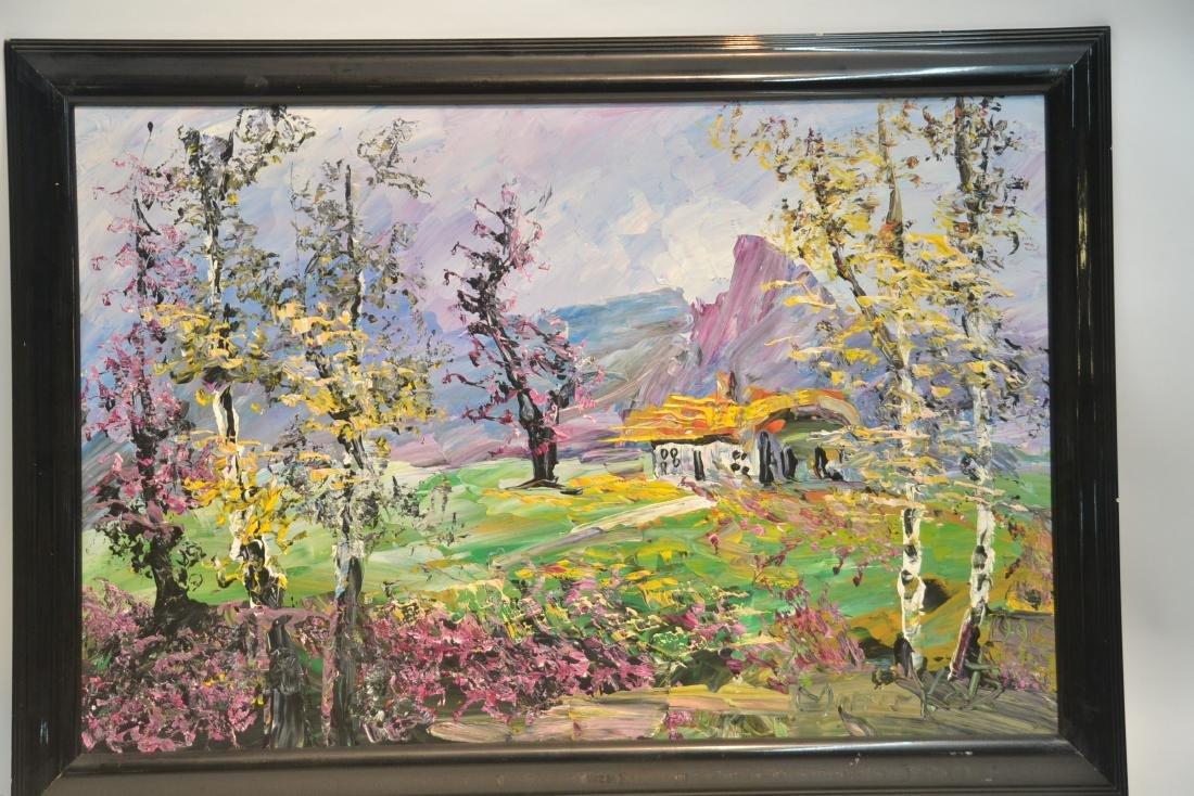 MORRIS KATZ , OIL ON BOARD CABIN & TREES IN - 3