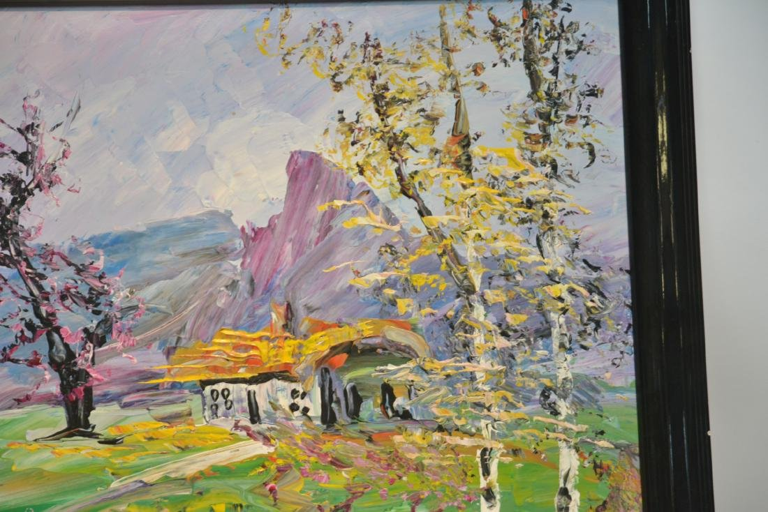 MORRIS KATZ , OIL ON BOARD CABIN & TREES IN - 4
