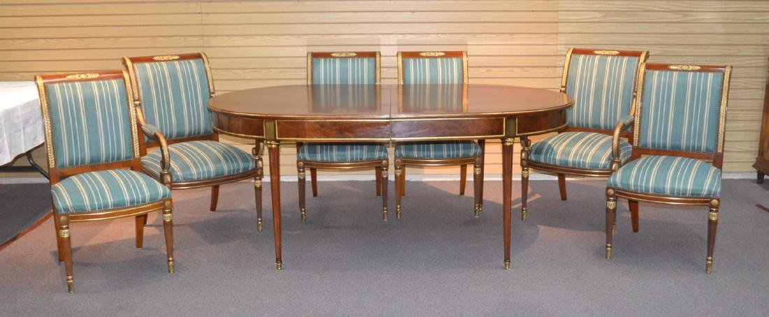 OVAL DIRECTOIRE STYLE DINING TABLE & (6) CHAIRS