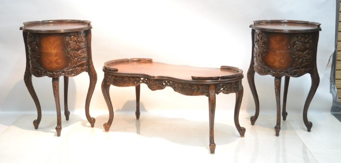 (3)pc INLAID COFFEE TABLE & (Pr) END TABLE SET