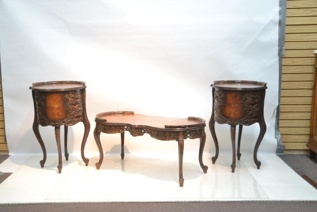 (3)pc INLAID COFFEE TABLE & (Pr) END TABLE SET - 2