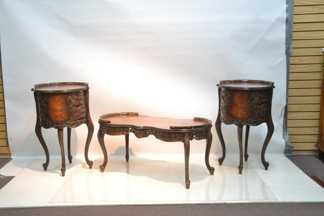 (3)pc INLAID COFFEE TABLE & (Pr) END TABLE SET - 3