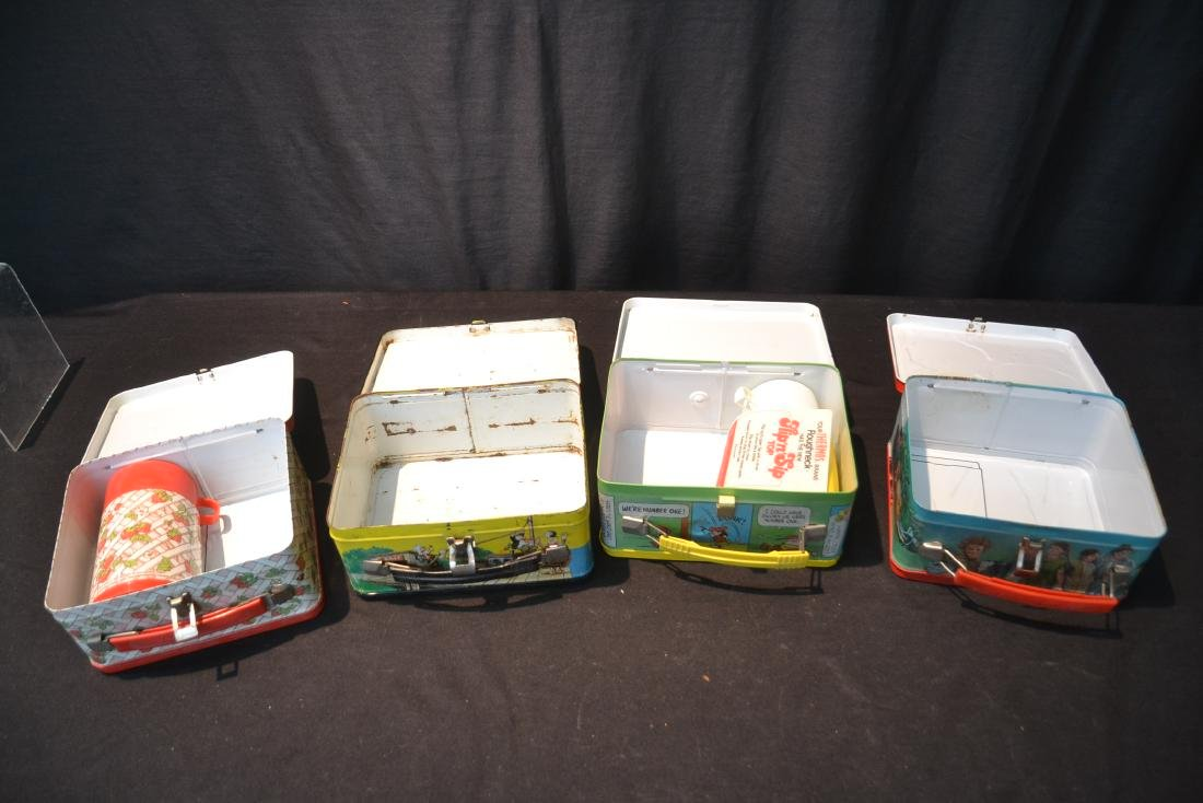 (4) VINTAGE TIN LITHOGRAPHED LUNCH BOXES - 8