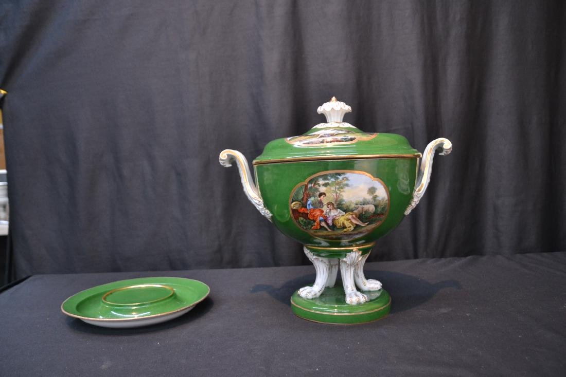 3-PART GREEN MEISSEN COVERED TUREEN WITH - 10