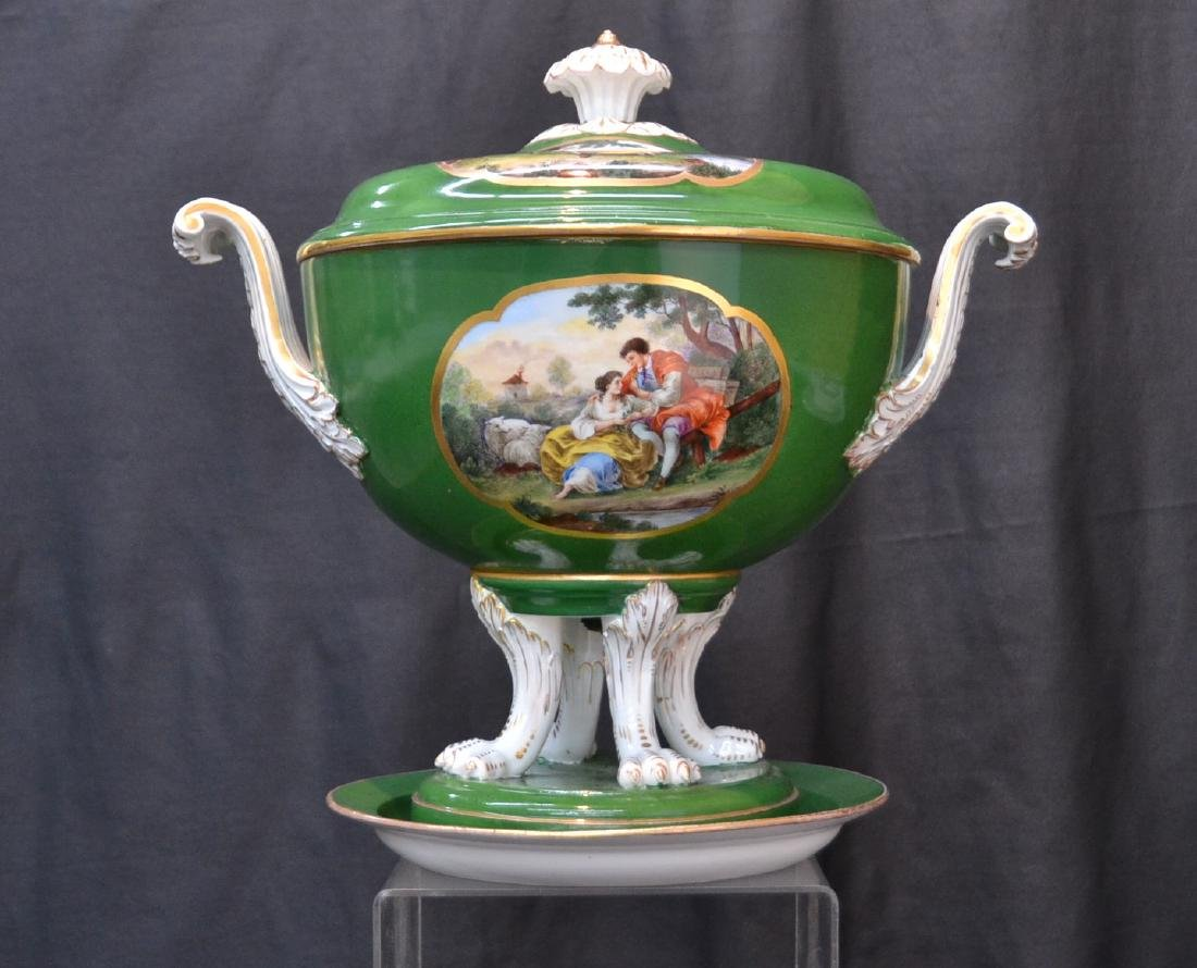3-PART GREEN MEISSEN COVERED TUREEN WITH
