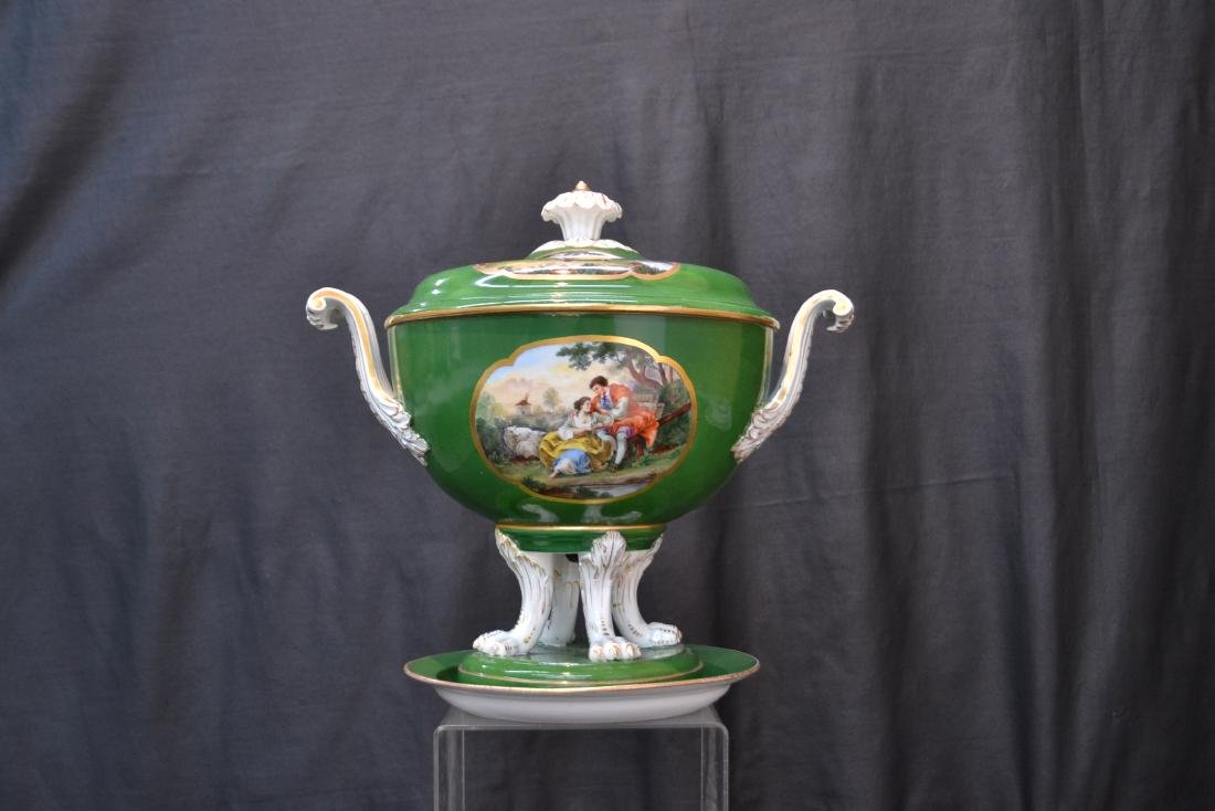 3-PART GREEN MEISSEN COVERED TUREEN WITH - 2
