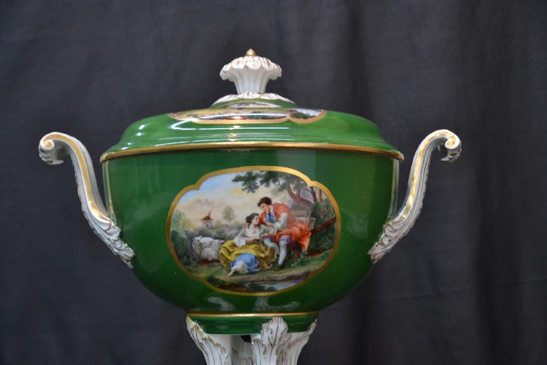 3-PART GREEN MEISSEN COVERED TUREEN WITH - 3