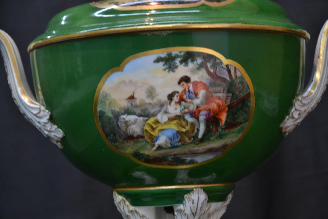 3-PART GREEN MEISSEN COVERED TUREEN WITH - 4