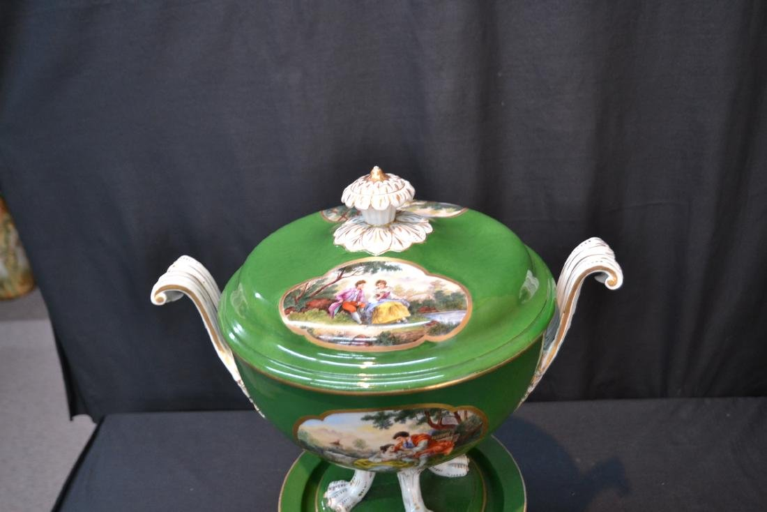 3-PART GREEN MEISSEN COVERED TUREEN WITH - 6