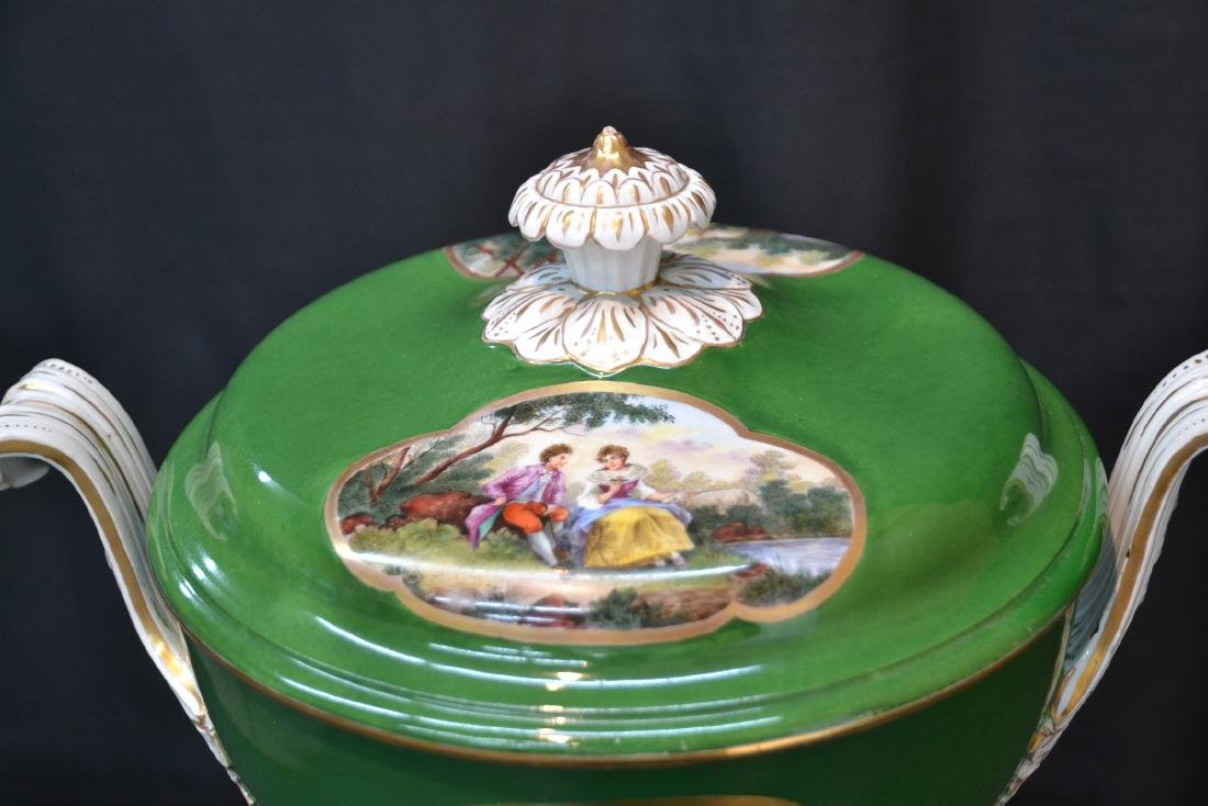3-PART GREEN MEISSEN COVERED TUREEN WITH - 7