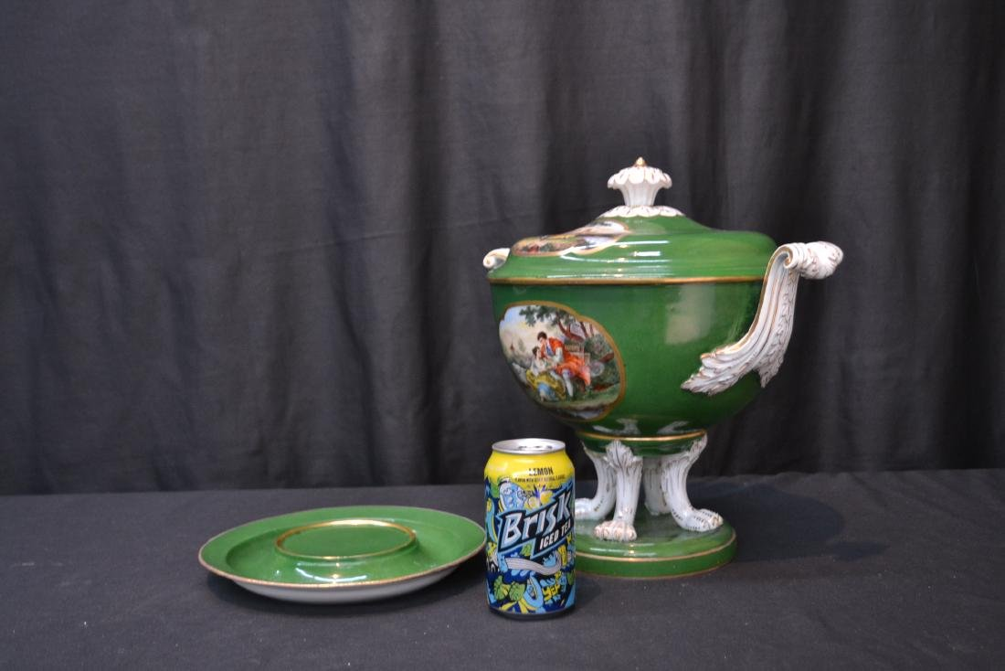 3-PART GREEN MEISSEN COVERED TUREEN WITH - 8