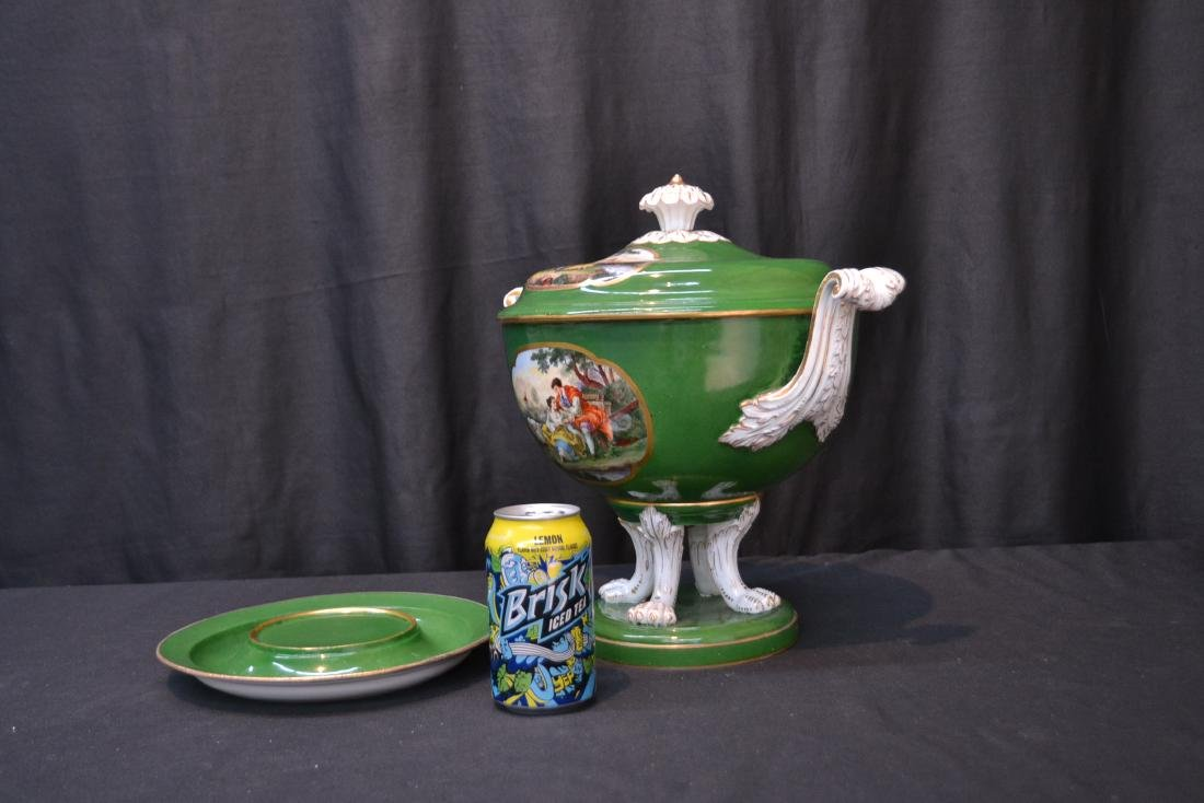 3-PART GREEN MEISSEN COVERED TUREEN WITH - 9