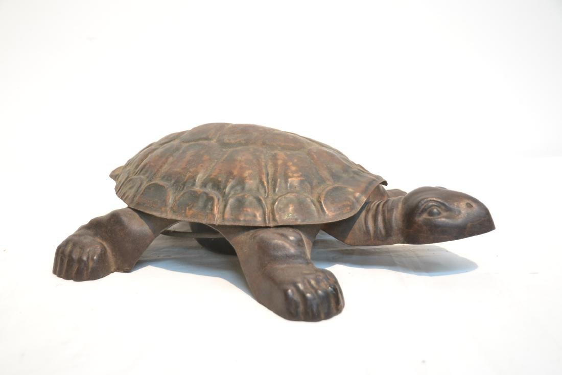 ANTIQUE MECHANICAL CAST IRON TURTLE SPITOON - 2